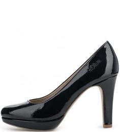 Однотонные лаковые туфли на каблуке S.Oliver