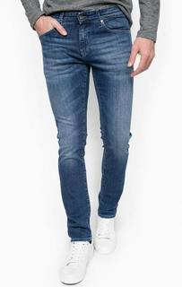 Зауженные синие джинсы с заломами Hilfiger Denim