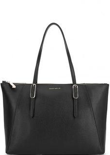 Черная кожаная сумка с длинными ручками Coccinelle