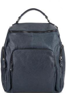 Синий кожаный рюкзак с карманами Bruno Rossi
