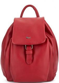 Красный кожаный рюкзак с одним отделом Bruno Rossi