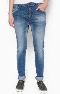 Синие джинсы бойфренд с потертостями Replay
