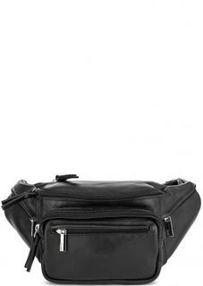 Черная поясная сумка из натуральной кожи Bruno Rossi