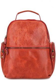 Красный кожаный рюкзак с двумя отделами Bruno Rossi