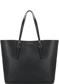 Черная кожаная сумка с ручками Coccinelle