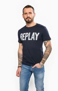 Синяя футболка с круглым вырезом Replay
