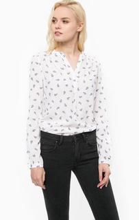 Белая блуза с контрастным принтом Hilfiger Denim