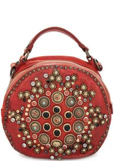 Круглая сумка с металлическим декором Campomaggi