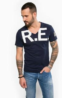 Хлопковая футболка с треугольным вырезом Replay