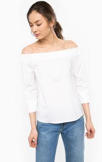 Белая блуза из хлопка с открытыми плечами Rich&Royal