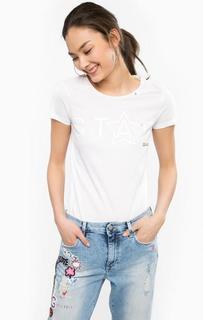 Белая хлопковая футболка с короткими рукавами Gas
