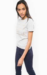 Хлопковая футболка с золотистым принтом Calvin Klein Jeans