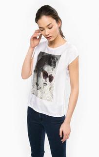 Белая футболка с отделкой стразами Rich&Royal