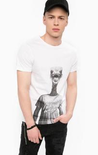 Хлопковая футболка с контрастным принтом Blend