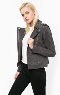 Серая куртка из замши с косой молнией Tom Tailor Denim