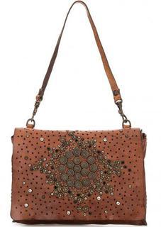 Кожаная сумка с металлическим декором Campomaggi