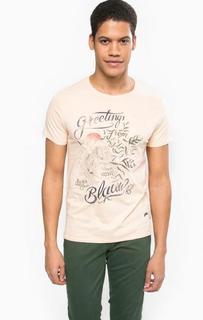 Хлопковая футболка кораллового цвета Scotch&Soda