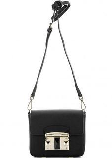 Черная кожаная сумка через плечо Cromia