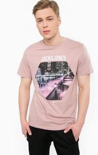 Розовая футболка с круглым вырезом Jack & Jones
