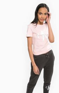 Розовая футболка из хлопка Calvin Klein Jeans
