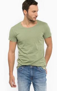Хлопковая футболка цвета хаки Lee