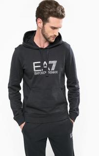 Хлопковая толстовка с капюшоном EA7
