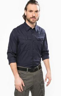 Синяя хлопковая рубашка с длинными рукавами G Star RAW