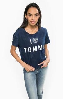 Укороченная футболка с принтом Hilfiger Denim