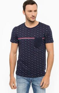 Синяя хлопковая футболка Tom Tailor Denim