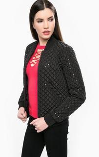 Черная стеганная куртка с пайетками Guess