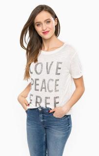 Белая футболка с короткими рукавами Hilfiger Denim