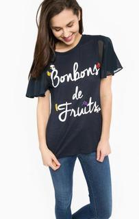 Синяя футболка с контрастными рукавами Gaudi