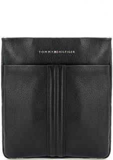Черная кожаная сумка через плечо Tommy Hilfiger