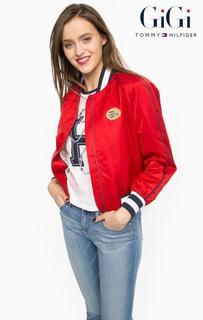 Легкая красная куртка с нашивкой и принтом Tommy Hilfiger