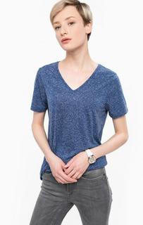Синяя футболка с треугольным вырезом Ichi