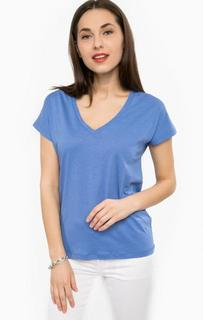 Синяя футболка с треугольным вырезом Silvian Heach