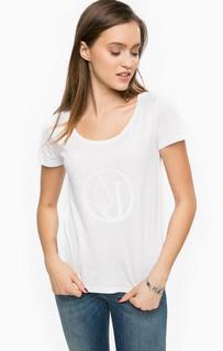 Белая футболка с отделкой бисером Armani Jeans