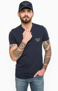 Хлопковая футболка с треугольным вырезом Armani Jeans