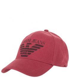Хлопковая бейсболка красного цвета Armani Jeans