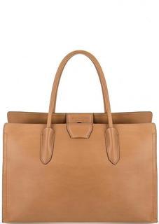 Вместительная кожаная сумка со съемным ремнем Gianni Chiarini