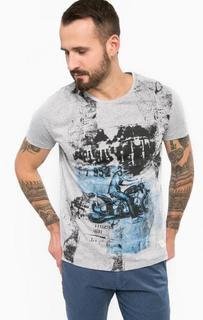 Серая футболка из хлопка с круглым вырезом Gaudi