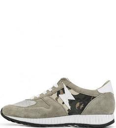 Замшевые кроссовки с текстильными вставками Mjus
