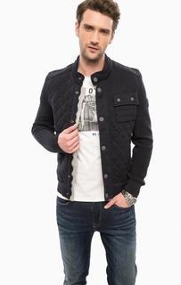 Стеганая куртка из хлопка с вязаными рукавами Marc Opolo