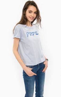 Синяя футболка оверсайз из хлопка Pepe Jeans