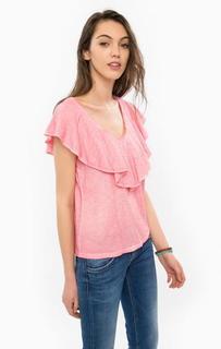 Розовая футболка с оборками Pepe Jeans