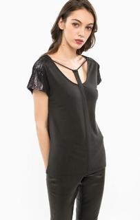 Черная блуза с отделкой пайетками Marciano Guess