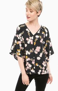 Черная блуза оверсайз с цветочным принтом Mavi