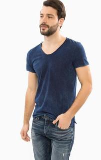 Синяя футболка с треугольным вырезом Mavi