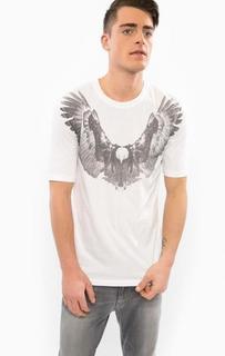 Белая хлопковая футболка с принтом Drykorn