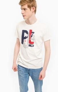 Хлопковая футболка молочного цвета с принтом Pepe Jeans